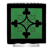 Panel - Black And Green Clover Style Greek Cross Shower Curtain