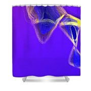 Panel One From Movement In Blue Shower Curtain
