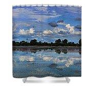 Pano Cambodia Lake  Shower Curtain