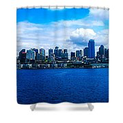 Pano Of Downtown Seatle Shower Curtain