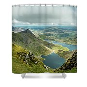 Pano Snowdonia Shower Curtain by Nick Bywater