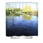 Panorama 2 Of Monets Garden In Giverny Shower Curtain