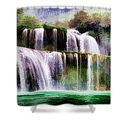 Panorama Ban Gioc Fall Vietnam  Shower Curtain