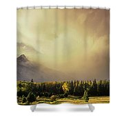 Panorama Clearing Storm Over The Grand Tetons Shower Curtain