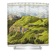 Panorama Drawn From The Rigi Mountain Shower Curtain