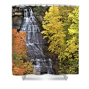 Panorama Fall Color Chapel Falls Upper Penninsula Mi Shower Curtain