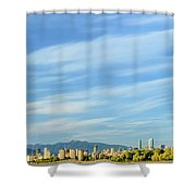 Blue Sky Over Vancouver City Skyline. Shower Curtain