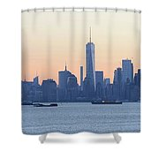 Panorama New York City Skyline At Sunrise Shower Curtain
