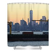 Panorama New York City Skyline With Passing Container Ship Shower Curtain