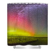 Panorama Of An Aurora And The Milky Way Shower Curtain