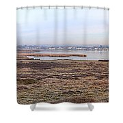 Panorama Of Christchurch Harbour Shower Curtain