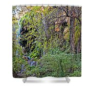 Panorama Of Gorman Falls At Colorado Bend State Park - Lampasas Texas Hill Country Shower Curtain