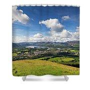 Panorama Of Keswick And Lake Derwent Water Panorama From Latrigg Shower Curtain