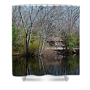Panorama Of Lake, Trees And Cabin Shower Curtain
