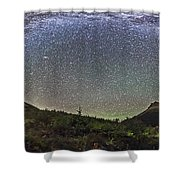 Panorama Of Milky Way Over Red Rock Shower Curtain