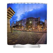Panorama Of Placa De Catalunya In The Morning, Barcelona, Spain Shower Curtain