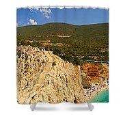 Panorama Of Porto Katsiki Famous Paradise Beach Shower Curtain