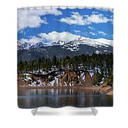 Panorama Of South Catamount Reservoir With Pike's Peak Covered I Shower Curtain