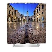 Panorama Of Stradun Street And Luza Square In Dubrovnik, Dalmati Shower Curtain
