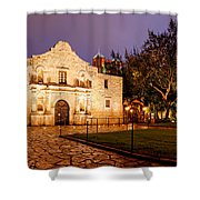 Panorama Of The Alamo In San Antonio At Dawn - San Antonio Texas Shower Curtain