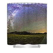 Panorama Of The Milky Way And Night Sky Shower Curtain