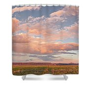 Panorama Of Twilight Clouds Over Tetilla Peak Recreation Area - Cochiti Lake New Mexico Shower Curtain