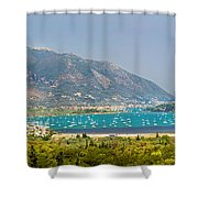 Panorama On Greek Island Shower Curtain