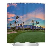 Panorama Palm Springs Golfing Shower Curtain