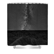 Panorama Point Milky Way Badlands Bw Shower Curtain