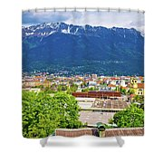Panoramic Aerial View Of Innsbruck And Hafelekarspitze Mountain Shower Curtain