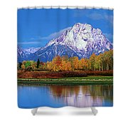 Panoramic Autumn Morning Oxbow Bend Grand Tetons National Park Shower Curtain