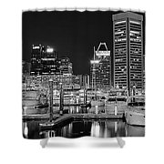Panoramic Baltimore In Black And White Shower Curtain