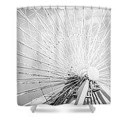 Panoramic Chicago Ferris Wheel In Black And White Shower Curtain
