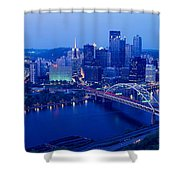 Panoramic Evening View Of Pittsburgh Shower Curtain