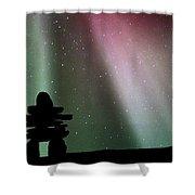 Panoramic Inukshuk Northern Lights Shower Curtain