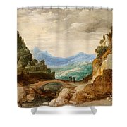 Panoramic Landscape With Travellers Shower Curtain