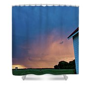 Panoramic Lightning Storm And Church Shower Curtain