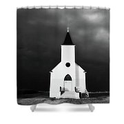 Panoramic Lightning Storm And Prairie Church 2 Shower Curtain