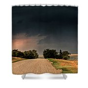 Panoramic Lightning Storm In The Prairie Shower Curtain