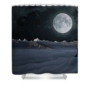 Panoramic Moonscape Shower Curtain