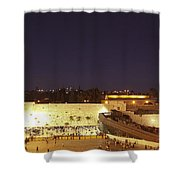 Panoramic Night View Of The Wailing Wall  Shower Curtain