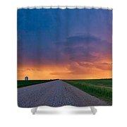Panoramic Prairie Lightning Storm Shower Curtain