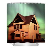 Panoramic Prairie Northern Lights And House Shower Curtain