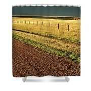 Panoramic Prairie Storm Canada At Sunset Shower Curtain