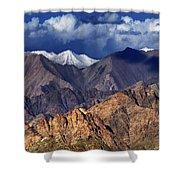 Panoramic Rocky Landscape Of Leh City Ladakh Jammu And Kashmir India Shower Curtain