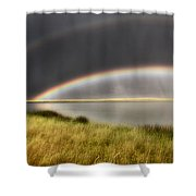 Panoramic Storm In The Marshes Shower Curtain