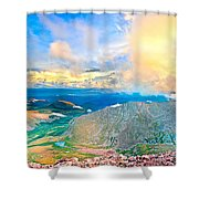 Panoramic Sunset On Mount Evans Shower Curtain