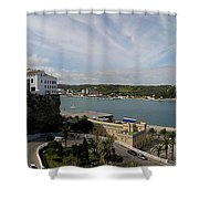 panoramic town 1  - Panorama of Mahon Menorca with old town and harbour Shower Curtain