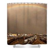 Panoramic Train Yard Storm Shower Curtain