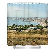 Panoramic View At The Salinas Beaches In Ecuador Shower Curtain